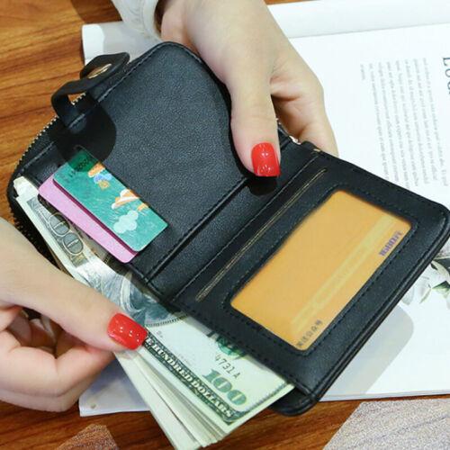 Damen Geldbeutel Leder Mini Portemonnaie Kleinegeldbörse Geldbörse Brieftasche