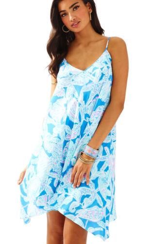 $198 New Lilly Pulitzer CLARA 100/% Silk DRESS Bay Blue Into The Deep XS S M L XL
