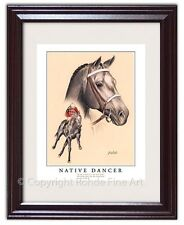 NATIVE DANCER FRAMED HORSE RACING ART famous champion thoroughbred painting