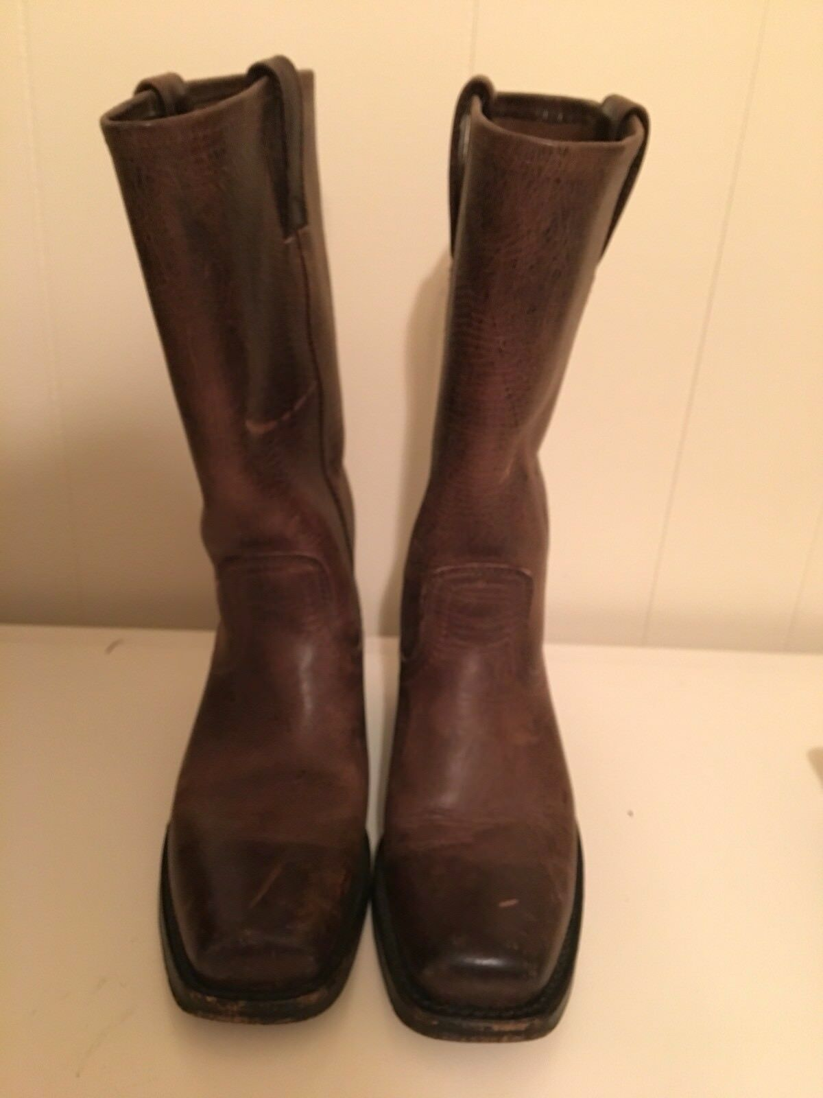 FRYE Womens Size 6M Brown Distressed Leather Pull On Biker Boots MADE IN USA