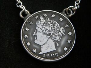 Necklace-Pendant-authentic-1883-Liberty-Nickel-coin-sterling-silver-18-inch