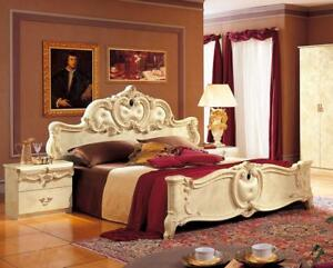 Details about Luxury Glossy Ivory King Bedroom Set 3 Classic Made in Italy  ESF Barocco