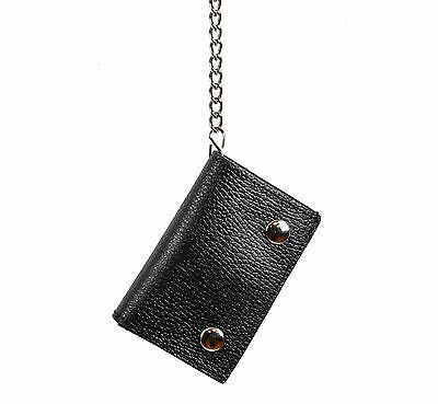 Plain Trifold Genuine Buffalo Leather Bikers Wallet with Chain Punk Goth Rock