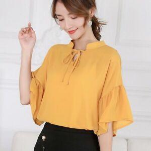 Top-Summer-Short-Sleeve-Ladies-Blouse-Loose-Shirt-Women-Fashion-T-Shirt-Chiffon