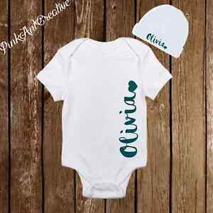 3bf02a3f44254 Details about Personalized Name Cute Baby Girl Clothes Onesies with Hat /  Beanie - Shower Gift