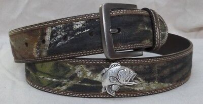 """46 INCHES WITH /""""USA/"""" CONCHOS MOSSY OAK CAMO LEATHER  /& CANVAS BELT"""