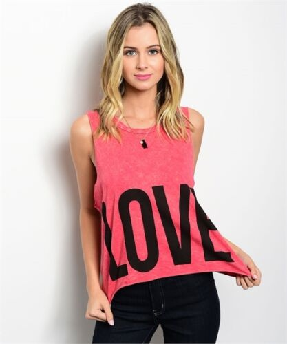 """M S I AM Women/'s Coral Black /""""LOVE/"""" /""""HAT/"""" Tank Top L Made in USA"""