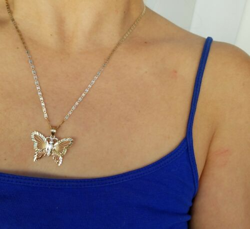 14k yellow white rose gold butterfly pendant