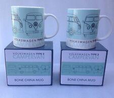 2 VW Campervan Tea Cups Splity Drinking Cup Volkswagen Motor home Coffee Mug
