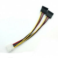 2Pcs 4 Pin IDE Male Molex to Dual SATA Y Splitter Female HDD Power Adapter Cable