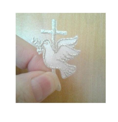 Colombe avec croix-saint-esprit-argent//blanc-brodé Iron On Applique Patch