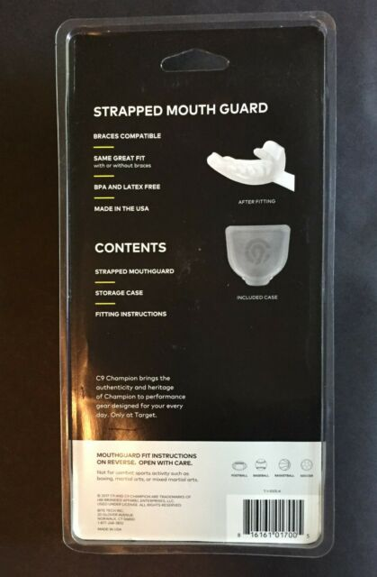 C9 Champion Adult Strapped Mouthguard Multi Sport Black Easy to Fit Ages 12 for sale online