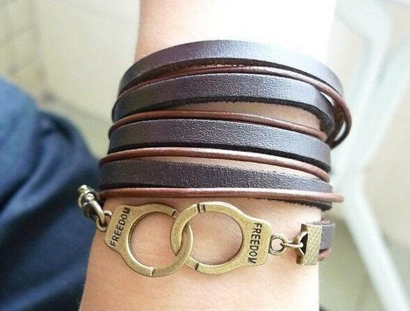 Bracciale Braccialetto Bracelet  Accessori Uomo Donna FREEDOM Metallo Pelle