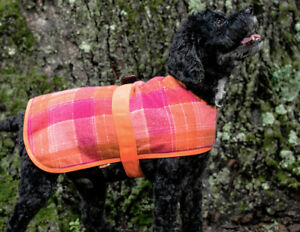 Hugglehounds WOOL DOG JACKET COAT Pink & Orange Plaid XS-XXL