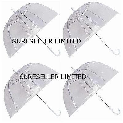 Set of 4 Rain Umbrellas Dome Birdcage Clear Transparent PVC Plastic Wedding