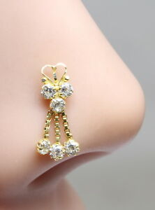 Real-Gold-Nose-Stud-14K-Yellow-Gold-Dangle-Style-Piercing-Push-Pin-nose-ring-18g