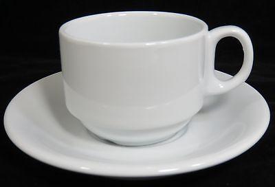 Tuxton Stackable Cup & Saucer Set Bright White Alaska ALF-0703 & ALE-060