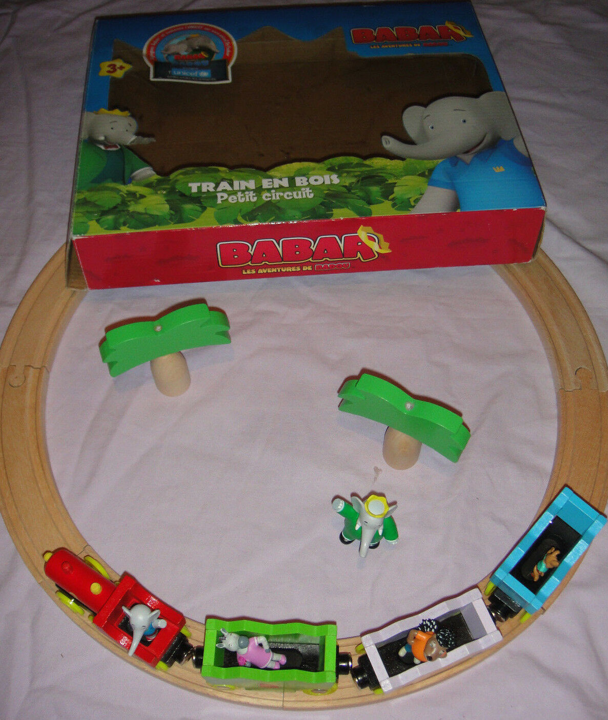 ● Wooden Luxury Babar Train Set Simba Eisenbahn Holz NEUwertig selten     OVP