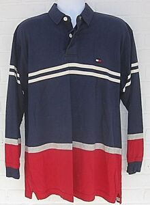 4c1f38dac62 VINTAGE Tommy Hilfiger RUGBY SHIRT FLAG LOGO SPELL OUT BOLD STRIPE ...