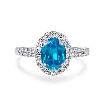 Fine Jewelry Honest 585er Weißgold Natürlicher Blau Topas 1,85kt Egl Zertifizierter Diamant Ring Diamond