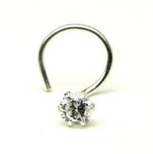 Single-stone-silver-nose-stud-Corkscrew-Piercing-Nose-Ring-L-Bend-nez-ring