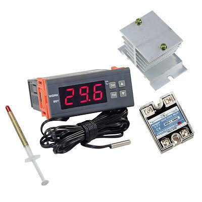 AC 240V C Thermostat Control Temp Temperature Controller w/ 25A SSR Relay Sensor