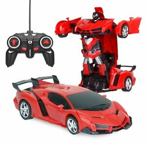 AU!!1:18 Transformer Wireless Remote Control Car Deformation Robot RC Kids Toy