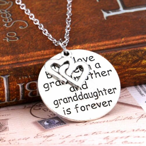 Love Choker Jewelry Round Carved Letters Grandmother Pendant Necklace Alloy