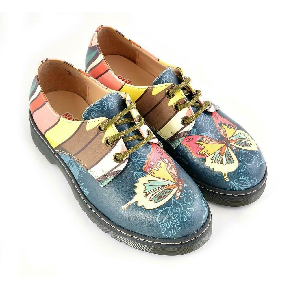 Goby Women Oxford Flat Party Rave Shoes Butterfly Printed Handmade Festival HQAL