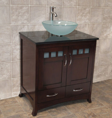 """Bathroom Vanity Vessel Sink Cheap 30"""" bathroom vanity cabinet black stone granite top vessel sink"""