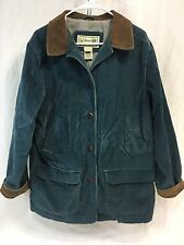 LL BEAN Womens XL Corduroy Barn Coat Field Chore Jacket Blue Flannel Lined EUC