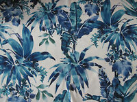 "CHIVASSO CURTAIN FABRIC DESIGN ""Tropical"" 4 METRES BLUE MONSOON COLLECTION"