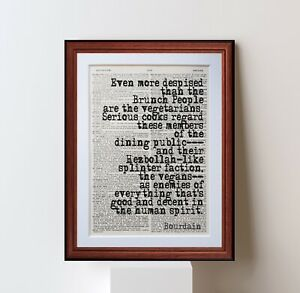 Anthony Bourdain QUOTE DICTIONARY PAGE ART PRINT Vintage Antique chef gift