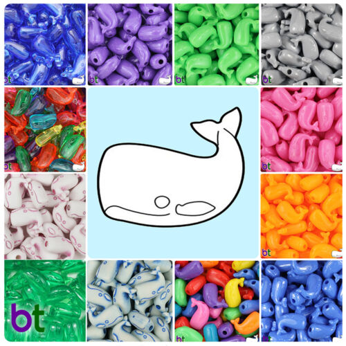 Style choice BeadTin Whale Shaped 24mm Plastic Pony Beads 24pcs