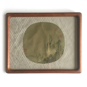 Antique-Chinese-Round-Fan-Painting-on-Silk-Depicting-a-Mountainous-Landscape