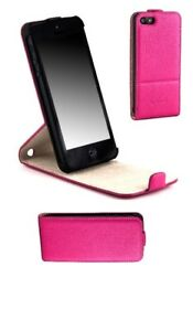 Apple-Iphone-5-5S-SE-Leather-Vertical-Magnetic-Flip-Cover-Case-Pink-Kickstand