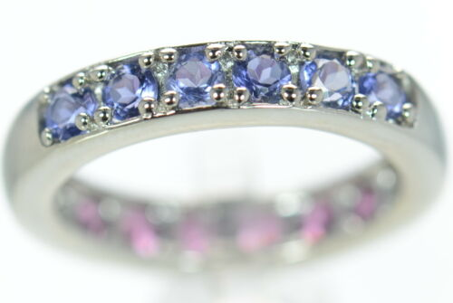 11 Solid 925 Sterling Silver Genuine Tanzanite /& Tourmaline Two-Sided Ring Sz
