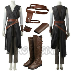Image is loading Star-Wars-8-The-Last-Jedi-The-Force-  sc 1 st  eBay & Star Wars 8 The Last Jedi The Force Awakens Rey Cosplay Costume ...