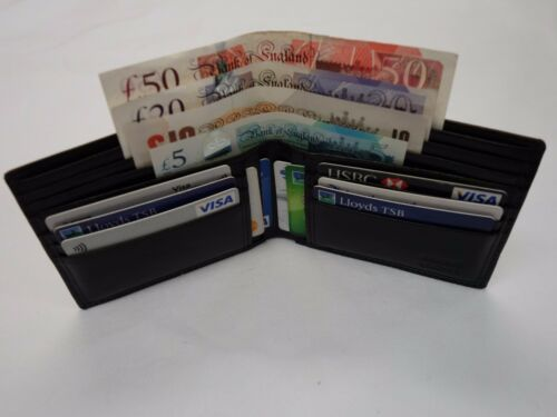 Top Quality Gent/'s Leather Wallet with Four Paper Money Pockets Large Size