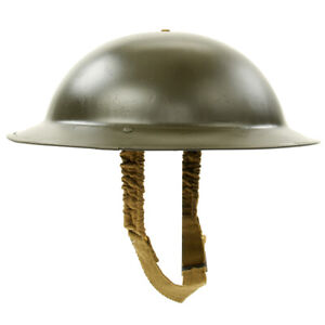 Original-WWII-British-Brodie-Steel-Helmet-in-OD-Green-WW2-Dated