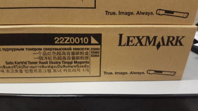 Originale Lexmark Toner 22Z0010 Magenta XS950 XS952 XS954 Alta Capacità Nuovo