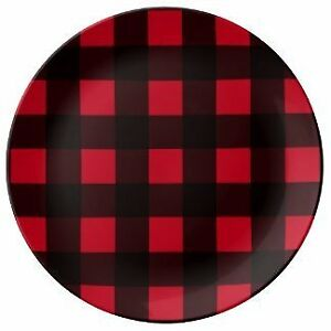 "Buffalo Plaid Check Red Black Hunting Outdoor Theme Party 9"" Dinner Plates"