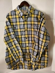 Duluth-Trading-Co-Men-039-s-Large-Yellow-Blue-Plaid-Button-Down-Cotton-Flannel-Shirt