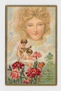 ANTIQUE-POSTCARD-VALENTINE-CUPIDS-PLAY-MUSIC-WHILE-SITTING-IN-FLOWERS-WOMAN-IN-C