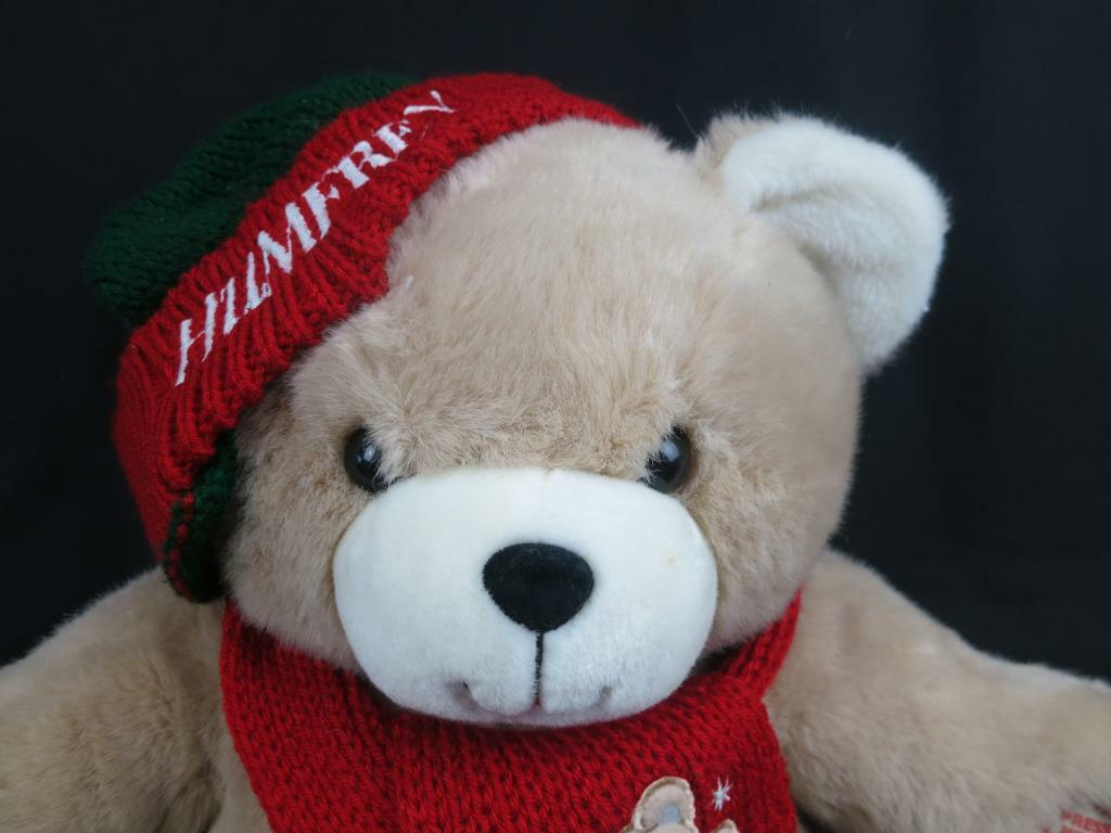 BIG VINTAGE rot Grün CHRISTMAS HAT TEDDY BEAR TALKING HUMFREY PLUSH MAGICAL HUG