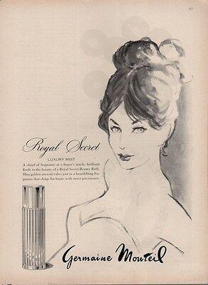 """1962 Germaine Monteil """"Royal Secret"""" ART PRINT AD"""