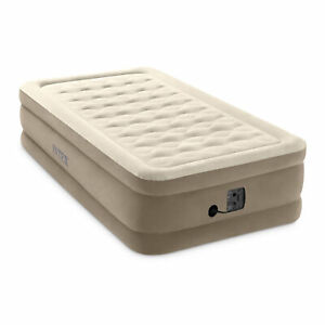 Intex Ultra Plush Fiber-Tech Airbed Elevated Air Mattress w/ Built-In Pump, Twin