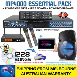 PRO-MP4000-KARAOKE-MACHINE-1228-SONGS-2-WIRELESS-MICS-BT-POWERED-SPEAKER