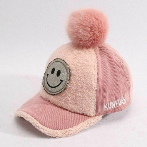 Children Baseball Cap Autumn Fur Hairball Kids Hat Boys Girls Caps Snapback Hats