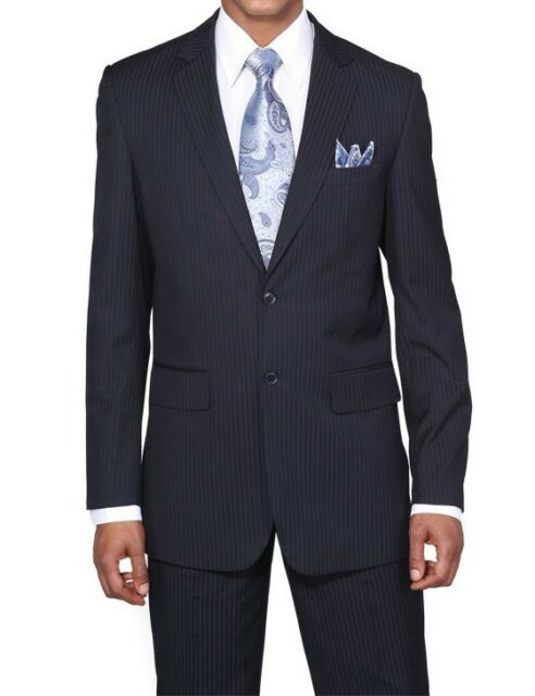 Men's Luxurious Two Button Slim Fit Wool Feel Striped Suit JL5702K 4 Colors